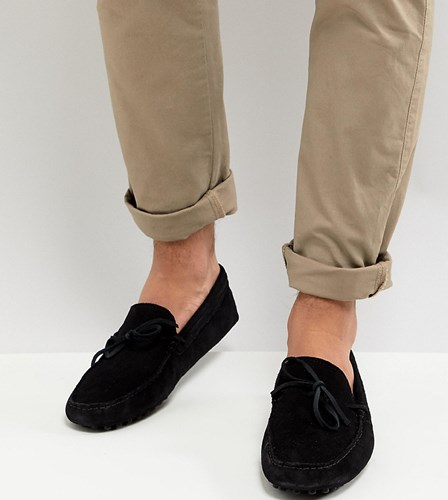 Asos Wide Fit Driving Shoes In Black Suede With Tie Front DUz1rzPWH