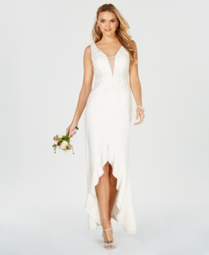 Adrianna Papell Embroidered Plunge Ruffle Gown Ivory T3kUAPDJ8R