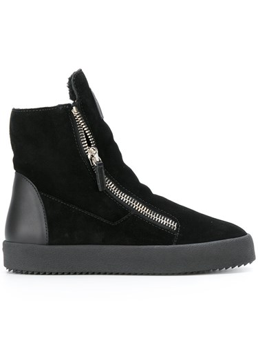 Giuseppe Zanotti Design Shearling Lined Hi Top Sneakers Leather Suede Wool Rubber Black 0lFTcO8TR