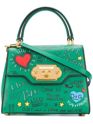 Dolce & Gabbana Welcome Graffiti Tote Leather Green beUcOUte