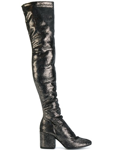 Strategia Metallic Knee Boots Leather Lurex Nylon Rubber Black uleCo9bO