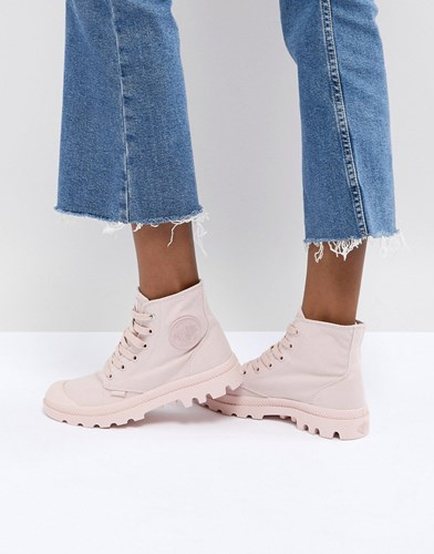 Palladium Pampa Monochrome Pink Textile Flat Ankle Boots Peach Whip NC8CDaYwL