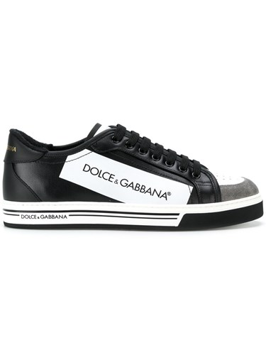 Dolce & Gabbana Panelled Lace Up Sneakers Cotton Leather Rubber Black AGl9s
