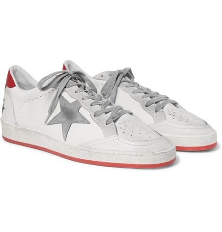 Golden Goose Ball Star Distressed Leather And Suede Sneakers White Wyu5yI