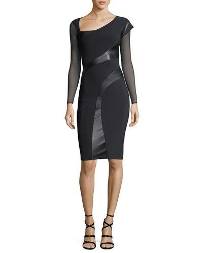 La Petite Robe di Chiara Boni Abner Illusion Sleeve Asymmetric Cocktail Dress W Leather Panels Black C94YEcmfL0