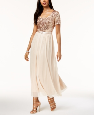 R & M Richards Belted Sequined Chiffon Gown Blush 5QbGRKBI