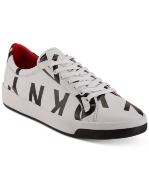 DKNY Sam Logo Lace Up Sneakers Shoes White Black Leather 5zwfEBlk
