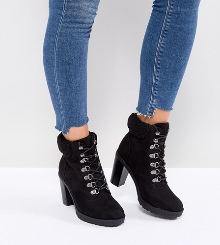 New Look Wide Fit Heeled Hiker Boot Black tIOxmPxNE