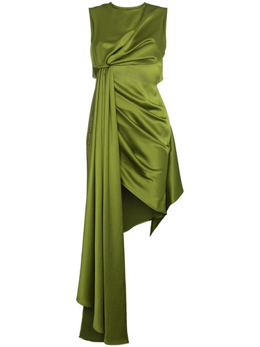 Off-White Sleeveless Dress With Open Back And Draping Green xDqwB1zFT