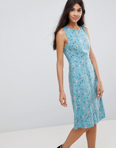 Sugarhill Boutique Mermaid Print Fit And Flare Dress Dusky Blue mBcoyM