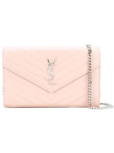 Saint Laurent Monogram Chain Wallet Women Leather One Size Pink Purple 4PNaQ