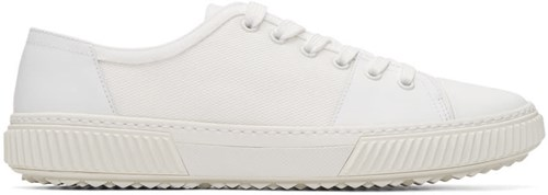 Prada White Leather And Canvas Sneakers 8XnqyTq9