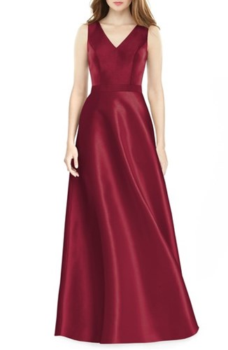 Alfred Sung Sleeveless Sateen Gown Burgundy YQCbaw