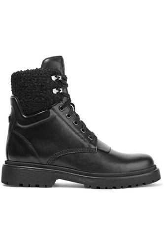 Moncler Patty Shearling Trimmed Leather Ankle Boots Black PRgLHJCEa