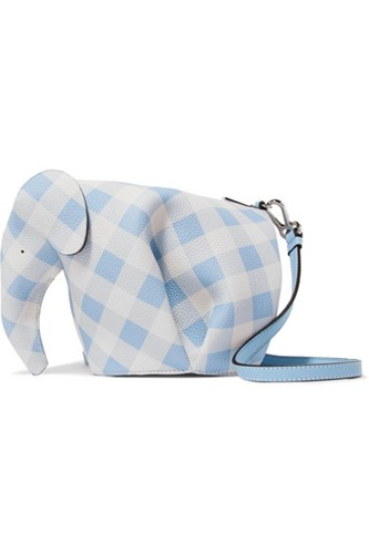 Gingham Loewe Bag Gbp Textured Shoulder Elephant Blue Leather ggq61r5Ww