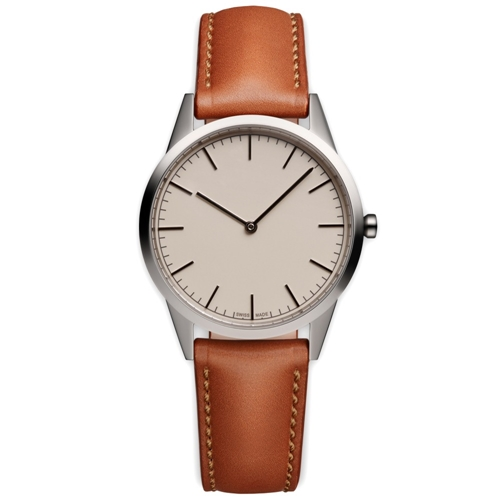 C35 Wristwatch Polished Steel And Tan Leather