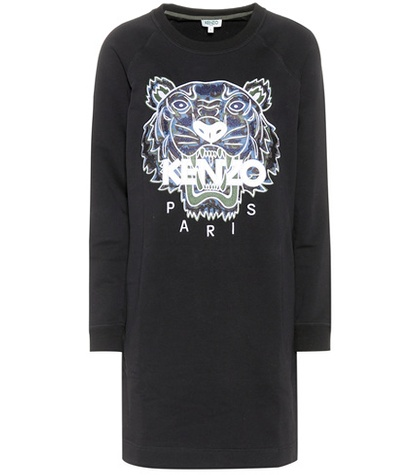 Kenzo Embroidered Cotton Dress Black xLnHbfrPh