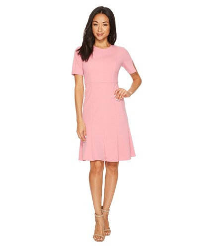 Donna Morgan Short Sleeve Knitted Crepe Fit And Flare Dress Pink Sherbet R0hGNe7