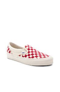 Vans Vault Og Classic Canvas Slip Ons Lx In Checkered And Plaid White Red Checkered And Plaid White Red IU5A5