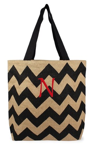 Cathy's Concepts Personalized Chevron Print Jute Tote Grey Black Natural N OmwJr7W