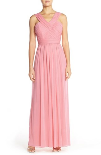 Alfred Sung Women's Shirred Chiffon V Neck Gown Blossom 1NJiC5