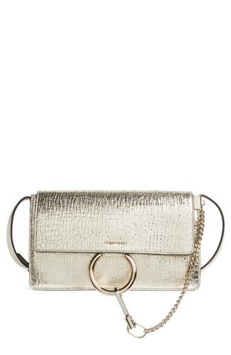 Chloé Small Faye Metallic Leather Shoulder Bag Metallic Gold RCRJUM