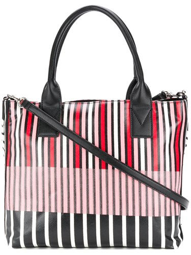 Pinko Striped Logo Tote Bag Multicolour XY74O