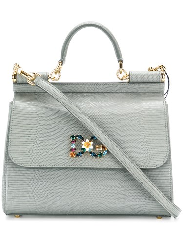 Gabbana Sicily Leather Jewelled Dolce Calf Grey Bag amp; Leather CxZwZqn75