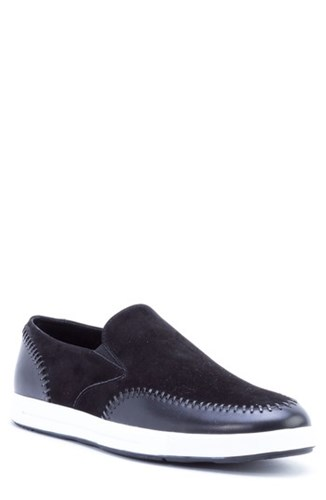 Zanzara Caravaggio Whipstitched Slip On Sneaker Black Suede Leather pLXglAw
