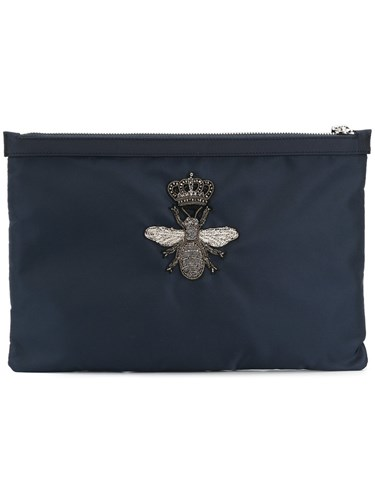 Dolce & Gabbana Crowned Bee Clutch Cotton Blue ujuIe