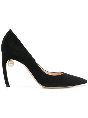 Nicholas Kirkwood Mira Pearl Pumps Suede Leather Black rNd7h
