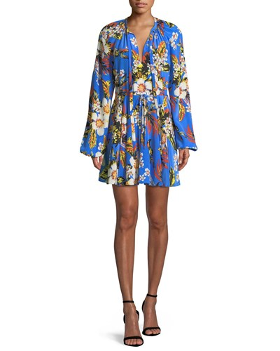 Diane von Furstenberg Floral Silk Cinch Sleeve Mini Dress Cobalt 2JJDHE82Wn