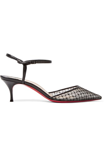 Christian Louboutin Riverina 55 Leather Trimmed Embroidered Mesh Pumps Black PEHYQExQgj