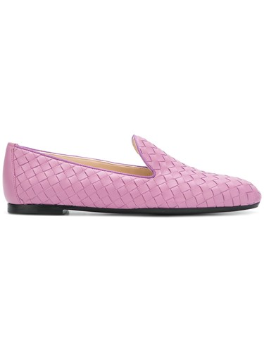 Bottega Veneta Classic Woven Loafers Pink And Purple q3AFvvp