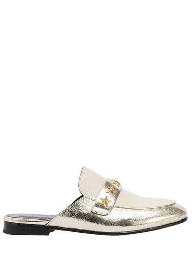 HAVVA 10Mm Star Girl Studded Metallic Mules Gold White Kf8ZBK