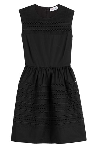 RED Valentino Cotton Dress With Embroidered Eyelet Trim Black 2HGQAM3gD