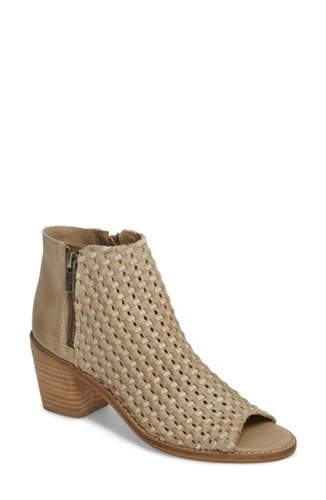 Sbicca 'S Waterfront Peep Toe Bootie Beige Leather 99rcl4VwS