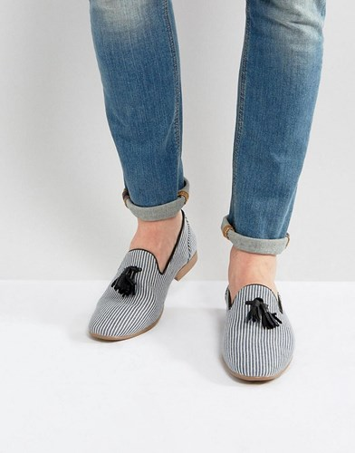 Asos Loafer In Navy Stripe With Tassels Navy Q9h55xJD