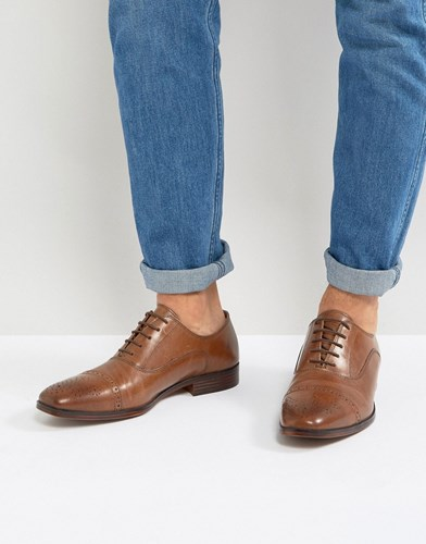 Asos Brogue Shoes In Tan Leather With Toe Cap Tan CbZVC