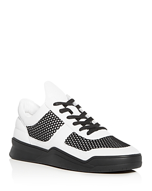 Karl Lagerfeld Men's Leather Lace Up Sneakers Black White nMgzgW