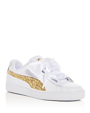 Glitter Lace Sneakers Women's Basket And White Puma Up Heart Leather p4ZqfwX