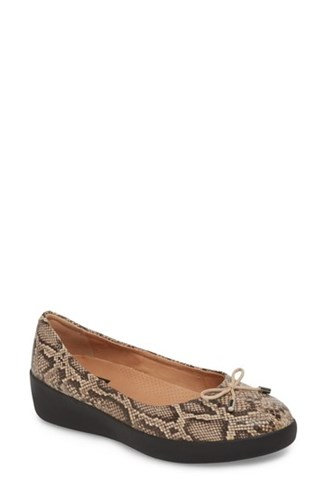 FitFlop Superbendy Ballerina Flat Taupe Snake Print Leather NmsWk93