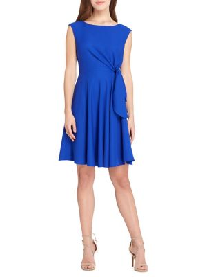 Levine Arthur Side by Fit And Petite Tahari S Dress Cobalt Tie Flare 1Utw4qwx