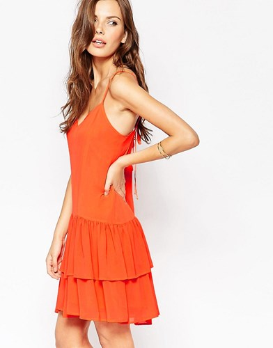 BCBGeneration Bcbg Generation Mini Dress With Tiered Ruffles Hot Coral cfnQi3