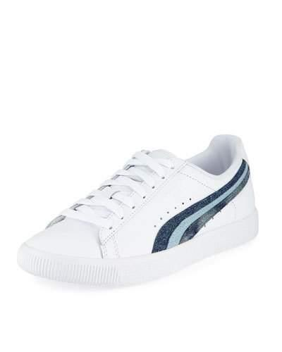White Puma Clyde Blue Sneaker Leather Striped Denim wUZUXqz
