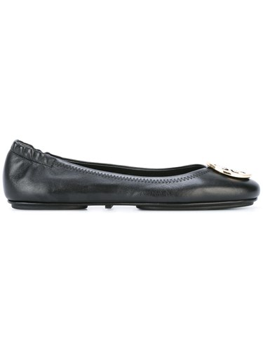 Minnie Travel Flats Leather Rubber Cotton Black