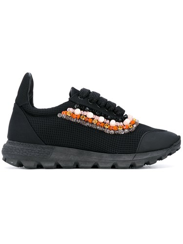 No Ka' Oi Beaded Trim Lace Up Sneakers Women Leather Polyester Rubber 35 Black U2ODvLnjtw