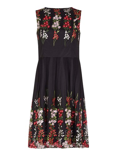Yumi Curves Flower Embroidered Mirror Dress Black TSXr9Ah