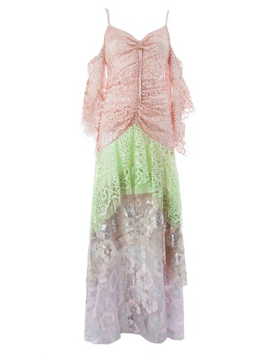Peter Pilotto Layered Lace Dress Pink And Purple LQgS9