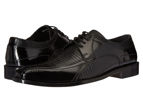 Stacy Adams Graziano Leather Sole Bike Toe Oxford Black Men's Lace Up Casual Shoes skJQN